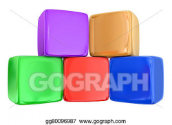Stock Illustration - Five 5 boxes cubes blocks toys stacked ...