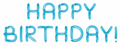 Happy Birthday with Blue Balloons Transparent Clipart | Gallery ...