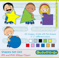 Clipart kids and Geometric Shapes Circle, Triangle, Square and Star ...