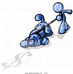 Clip Art of a Blue Stick Figure Man Walking His Sniffing, Suspicious ...
