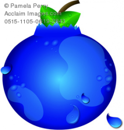 Clip Art Image of a Juicy Blueberry With Dew
