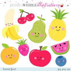 Kawaii Fruit Cute Digital Clipart, Cute Fruit Clip Art, Smiling ...