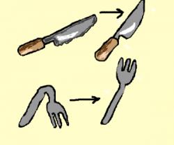 Blunt the knives, bend the forks...