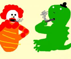 Godzilla smoking a fat blunt with Ronald McDon - drawing by ...