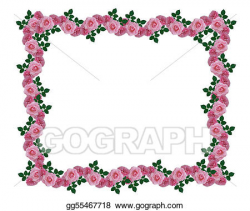 Stock Illustrations - Pink roses garland border. Stock Clipart ...