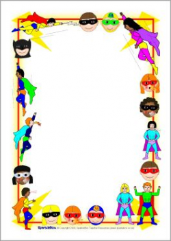 FREE superhero editable border paper...Superhero A4 page borders ...