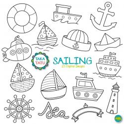 Sailing Digital Stamp - Sailing Clip Art / Boat Clipart / Marine Clipart /  Sea Clipart / Nautical / Nautical Printable / Boats Line Art
