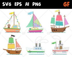 Ships vector clipart, boat clip art, Nautical Clipart, ship clipart ...