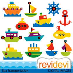 Cute sea transportation cliparts. Boats, ships, yacht, and more ...