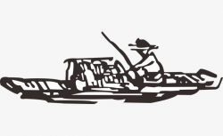 Stick Figure Fisherman, Boat, Fish, Black And White PNG Image and ...