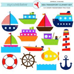 Sea Transport Clipart Set - clip art set of boats, ocean transport ...