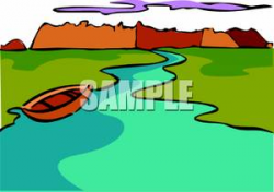 Canoe Floating On A River - Royalty Free Clipart Picture