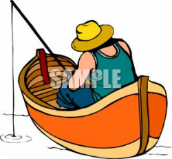 A Man Fishing In a Wooden Boat - Royalty Free Clipart Picture