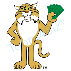 Bobcat Mascot Clip Art Holding Money Clip Art