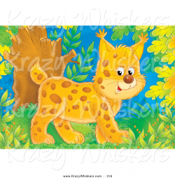 Critter Clipart of a Cute and Happy Baby Bobcat Walking Through a ...