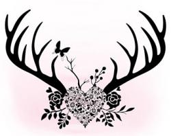 Floral Antlers svg clipart Antler hornes SVG Boho floral