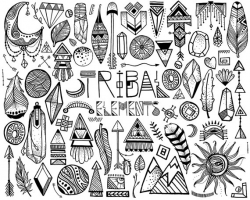 Tribal Clipart 68 Hand Sketched Vector & PNG Tribal Design