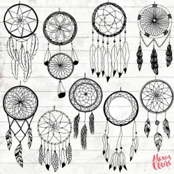 Boho Dream Catcher Clipart - Hand Drawn Dreamcatcher Clipart ...