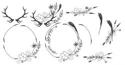 Boho Clipart Minimalist Wreaths Black White Clipart Leafy