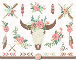 Floral bull skull clip art FLORAL TRIBAL Clipart