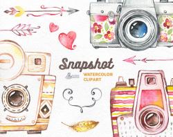 Snapshot. Watercolor handpainted cameras clipart, wedding, diy ...