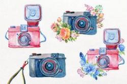 Flowers & Cameras. 6 Handpainted clipart, invitation, photocamera ...