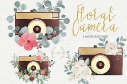 Floral camera clipart,watercolor camera,camera clipart,boho camera ...