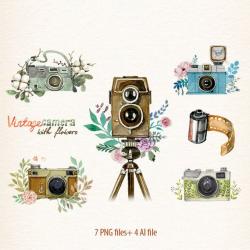 Camera, Watercolor camera, retro camera, Flowers & Cameras ...