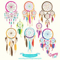 Tribal Clipart - Boho Tribal Clip Art Set, Dream Catcher Clipart ...