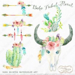 Watercolor Boho Tribal Floral Digital Card Clipart Clip Art, Bohemian,  Cactus, Wild Child, Arrows, Peace, Flowers Feathers Cow Skull Horns