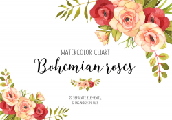 Roses watercolor boho clip art ~ Illustrations ~ Creative Market