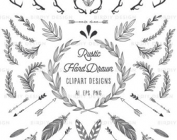 Woodland Clipart Floral Clipart Antlers Banners