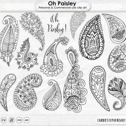 Boho ClipArt, Paisley Doodle Line Art, Digital Stamps ClipArt ...