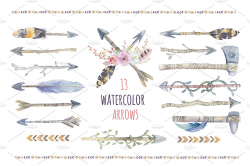 Tribe watercolor boho arrows ~ Illustrations ~ Creative Market