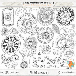Doodle Flowers ClipArt, Boho Digital Flower Line Art, Flower Clip ...