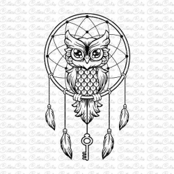 Owl with key Svg dreamcatcher Dxf Png Eps files vector owl clipart ...