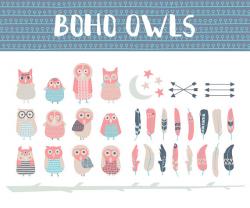 Boho owls digital clipart. Owl clip art. Arrows Clip-art. Moon ...