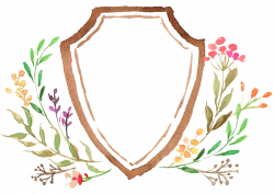 Watercolor painting Logo Boho-chic Drawing - Drawing Shield branch ...