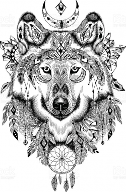 Detailed Wolf in aztec-boho style. May be used as a print, a tatto ...