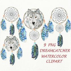 Boho Dreamcatcher Clipart Tribal Clip Art Wolf Feathers