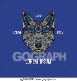 EPS Illustration - Boho style wolf logo. Vector Clipart gg83842296 ...