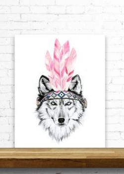 A4, A3, 8x10, 11x14 Mustard Boho Wolf. Watercolour / Digital print ...