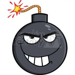 Royalty Free RF Clipart Illustration Evil Bomb Cartoon Character clipart.  Royalty-free clipart # 395824