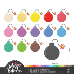 30 Colors Cute Bomb/ Bombs Clipart - Instant Download from ...