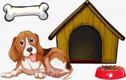 Simple Dog House And Dog, Bone, Cute Dog, Food PNG Image and Clipart ...
