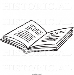 Historical Clipart of an Opened Book with Text - Black and White ...