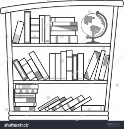 Bookshelf Clipart Black And White - Letters