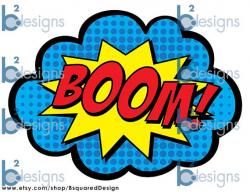 Superhero Party Signs Boom Pow Zap Bam Pop 8.5 x 11