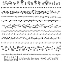 Floral Doodle Borders Clipart Set Commercial Use 12 Flower