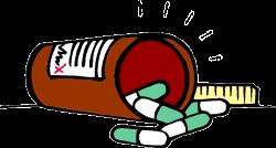 Pharmacy Medical Clipart - prescription bottle spilled category 0